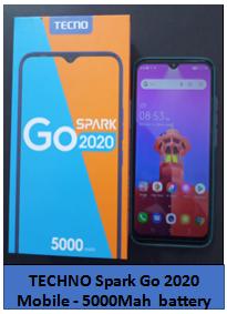 TECHNO Spark Go 2020 Mobile – 5000Mah Battery